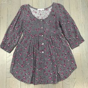 Charlotte Russe Grey Purple Floral Button Down Top